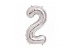 2 Rakamı Folyo Balon - Gümüş Renk 16inc