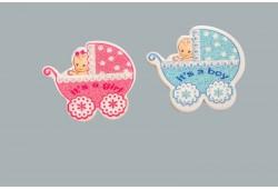 Bebek Pusetli Karton Sticker Mavi 50'li