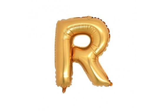 R Harfi Folyo Balon 40inc Altın Renkli