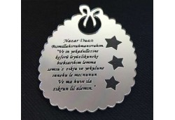 Ayet Nazar Duası Pleksi 2mm Gümüş 10'lu