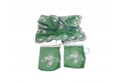 Kına Duvağı Ve Eldiven Tülden Pullu Yeşil