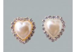 İnci Kalpli Etrafı Taşlı Gümüş 10'lu