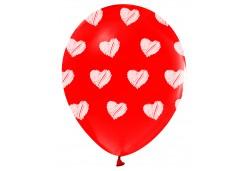 Balon Kalpler Baskılı Kırmızı 100'lü