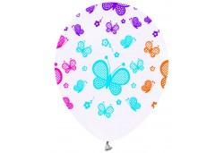 Balon Renkli Kelebek Baskılı Beyaz 100'lü