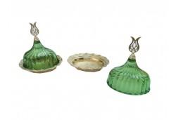 Lokumluk Kristal Kapaklı Oval Yeşil