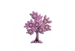 Ağaç Çiçekli Yapraklı Plastik Pembe 10'lu