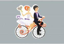 Sticker Gelin Damat Bisikletli 50'li