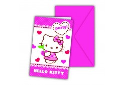 DAVETİYE HELLO KITTY HEARTS 6 ADET  - BE7971