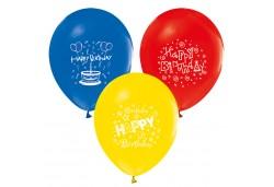 Balon Hapy Birthday Yazılı Karışık Renk 100'lü