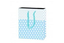 Çanta Karton Minik Boy Mavi Puantiyeli 12x17 25'li