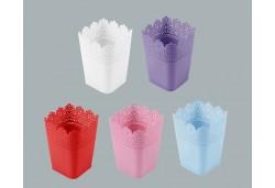 Saksı Dantelli Plastik Pembe