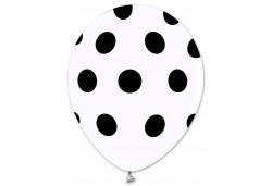 Balon Siyah Puantiyeli Beyaz 100'lü