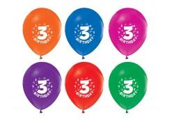 Balon Hapy Birthday 3 Yaş baskılı Pastel 100'lü