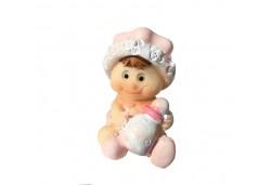 Bebek Şapkalı Ve Biberonlu Pembe