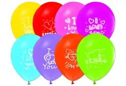 Balon I Love You Baskılı Karışık Renk 100'lü